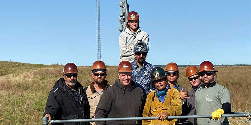 CEO Sean Wenger with Foreman Mike Berry and crew in Elgin, NE for Tower Demolition Work